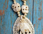 Ivory Colored Carved Bone ELEPHANT Necklace with Beads- Costume Jewelry- Parts Necklace- African Tribal