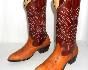 Mens Size 7 D Cowboy Boots Two Tone Brown Tan Country Western Womens 8.5 Urban Indie