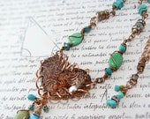 Western Romance copper heart necklace -Sleeping Beauty turquoise cowgirl heart