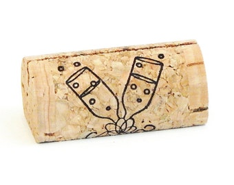 Custom Printed Wine Cork Place Card Holders - Champagne Flutes