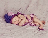 Purple Baby Hat, Crochet Baby Hat with Flowers, Kids Winter Hats, Winter Hat for Baby, Unique Baby Gift, Baby Hat with Ties