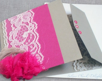 Wedding Card with Lace and Flowers - Elegant Wedding Day Card - Card for Newlyweds - Wedding Congratulations Card - Handmade Wedding Cards