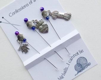 Knitter Stick Pins - Knitting Queen - Gift for Knitter - Knitting Humour - Pincushion Pins - Secret Sister Gift - Decorative Pins - Knitting