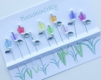 3-inch Flower Pins - Decorative Sewing Pins - Flower Stick Pins - Gift for Quilter - Secret Sister Gift - Embellishment Pins - Sewing Gift