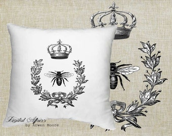Digital Download Livingroom Collection Vintage Old Crown Bee Black & White Image For Papercrafts, Transfer, Pillows, Totes, Etc va026