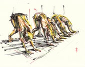 Yoga Art -- Original color drawing on paper // All Our Dogs Are Down