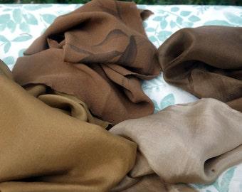 "Silk Fabric Walnut Dye Art Fabric Natural Color Destash 3 Brown New and Vintage Silk Walnut Golden Brown Earth Tones 11"" x 26"" to 18"" x 32"""
