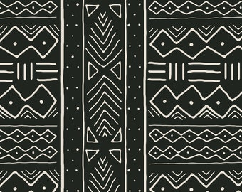 African Fabric - Mudcloth In Bone On Black By Domesticate - African Cotton & Upholstery Fabric By The Yard With Spoonflower