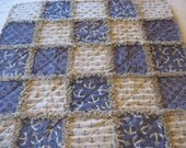 Nautical Anchor Baby Boy Rag Quilt Blanket 35x35