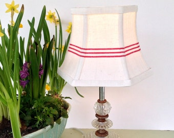 Red French Lamp Shade Lampshade Stripe Linen Vintage Fabric, 5x8x6 hex bell, clip on shade - farmhouse style light