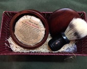 Natural Shave Soap Kit - All Natural Soap Puck - Shaving Gift - Boar Bristle Brush - Wooded Soap Dish