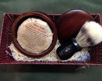 Natural Shave Soap Kit - All Natural Soap Puck - Shaving Gift - Quality Badger Shaving Brush - Wood Soap Dish
