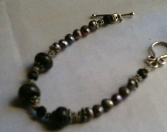 Chocolate Brown Pearls Lampwork Beads Sterling Bracelet
