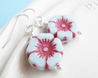 Aqua and Red Flower Earrings - Pretty Posies