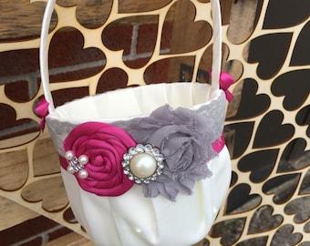 Magenta & grey  Flower girl basket / rustic wedding basket / vintage  wedding basket  / wedding basket