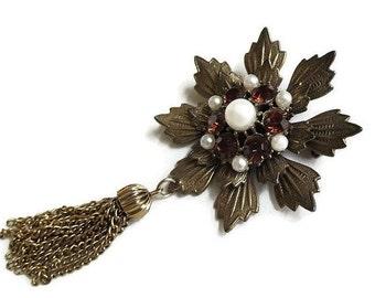 Vintage Flower Tassel Dangle Brooch with Layered Amber Rhinestones & Faux Pearls