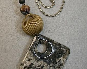 Vintage Granite FAN LIGHT Pull Black Gray Polished Square Pendant,Vintage Brass Bead ,Black Crystal,Black Brown Crackle Jasper Bead