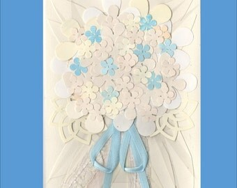 Wedding Bouquet Card - Ivory on Ivory - only one left- Over 20 flowers - Free Shipping in USA