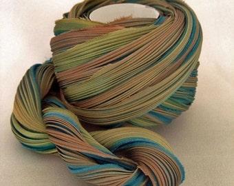Shibori Girls Hand Dyed Silk Ribbon Autumn Teal Shibori Silk Ribbon