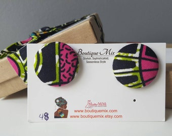 African jewelry, Button earrings, African earrings, Fabric button earrings, Fabric earrings, African fabric earrings, African fabric jewelry
