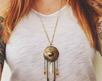 Western Shield, Arrows, and Coyote Tooth Necklace