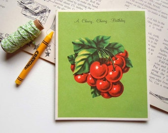 Vintage Unused Birthday Greeting Card | With Easy Cherry Tarts Recipe on Back