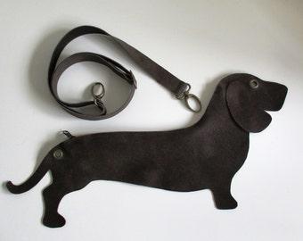 Brown Dog Vegan Leather Messenger/ Clutch