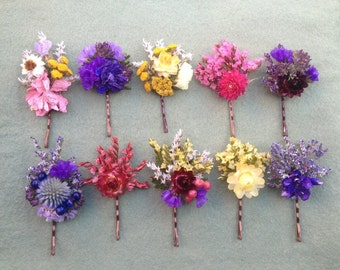 Gift set of 5 colorful bobby pins adorned with dried flowers. A fun Bridesmaids gift.