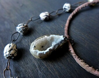 Night Harbor. Primitive gray polymer clay art bead necklace with geode and artisan chain. Mixed media assemblage jewelry