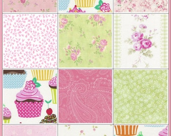 143-4 inch Squares~Cupcake Baby Quilt Kit~Too Cute to Describe~Pink~Green~White~ Fabric~QK#45