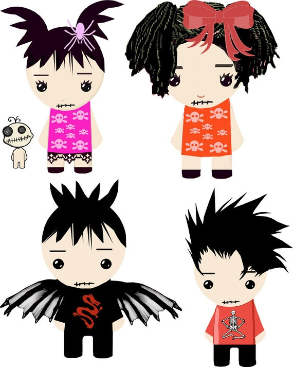 Goth rag dolls clipart png clipart gothic boys girls collage sheet printable digital images graphics Halloween childrens craft printables