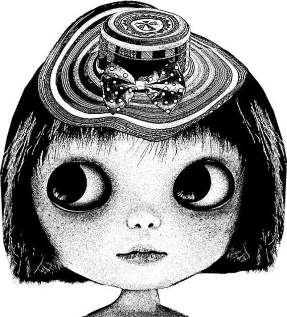 freckle face doll bow hat printable art downloadable art Digital Image graphics blythe clipart png clip art black and white artwork prints