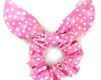 Bunny ears scrunchie RTS, pink white dots hair knot bow scrunchie, child girl adult elastic band ponytail holder, chouchou party favor gifts