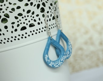 Blue Teardrop Polymer Clay Earrings with Swirls