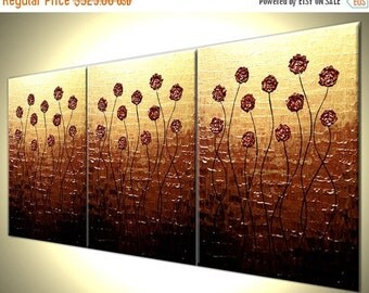 "Original Flowers Red Roses Poppies Painting Abstract Impasto Gold, Textured Palette Knife Art by Lafferty - 36""x72"""