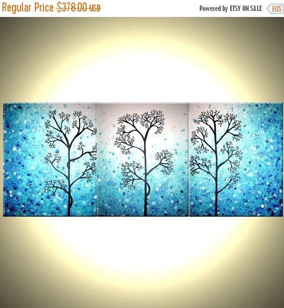 Light Blue Trees, Original Modern Large Abstract Fine Art Acrylic Blue Tree Landscape Painting By Dan Lafferty - 20x48
