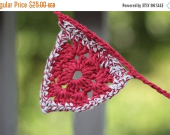 Winter Clearance Crochet Bunting, Patriotic bunting, red, white and blue bunting