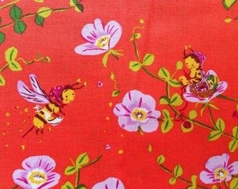 SALE. Heather Ross Briar Rose Nanny Bee in Tomato Red