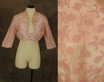 Clearance Sale vintage 50s Bolero Jacket - 1950s Pink Rose Print Organdy Cropped Jacket Sheer Floral Top Sz M