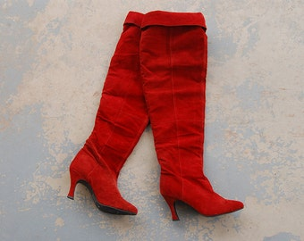 vintage 1980s Over the Knee Boots - 80s Red Suede Leather Thigh High Boots OTK Boots Sz 7.5 38
