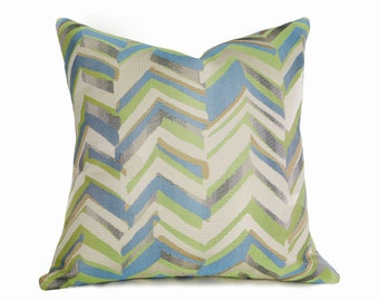 Blue Green Chevron Pillow Covers, Decorative Throw Pillow, Turquoise Chartreuse Gold Pewter, Toss Cushion Covers, 12x18, 18x18, 20x20