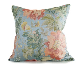 Blue Floral Pillow, Colorful Floral Pillow Covers, Large Flowers, Aqua Blue Coral Orange Green Blue Pink Orange, Lumbar, 18x18, 20x20, 16x26