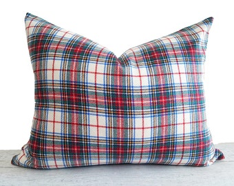 White Red Plaid Pillows, Wool Christmas Pillows, Stuart Tartan Pillow, Stewart Plaid Cushions, Oblong Lumbar 16x20, 20x20 NEW Seasonal Decor