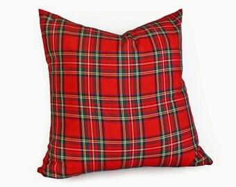 Red Plaid Pillows, Tartan Plaid Pillows, Red Stuart, Royal Stewart Plaid, Christmas Pillow, Lumbar Pillows, 10x16, 16, 18, 20, 22, 26