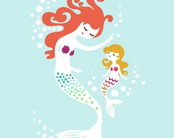 "8X10"" Mermaid mother & Daughter giclee print on fine art paper. Sky blue, rainbow tails, pink/redhead blonde"