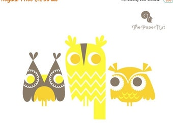 "SHOPWIDE SALE SALE! 1/3 Off. 8X10"" three owls giclee print on fine art paper. lemon and dandelion yellow and brown."