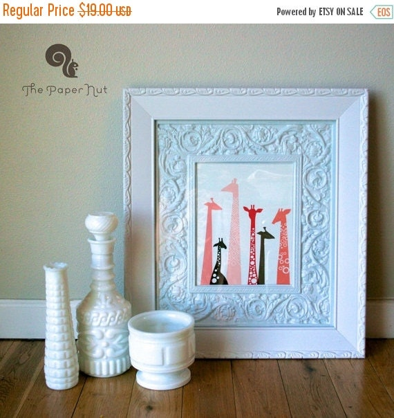 """SHOPWIDE SALE 8X10"""" modern giraffe silhouettes giclee print on fine art paper. pink and brown or taupe gray. portrait format."""