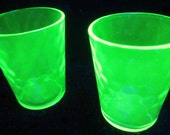 Hex Optic Honeycomb Diamond Quilted Green Depression Glass Shot Small Tumbler Cup Vintage DDB7
