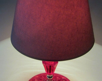 RED RUBY LAMP Candle Stick Style Glass Shade Quilt Diamond Base Vintage Duette Round Hobnail