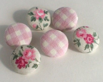 Fabric Buttons - Little Roses and Pink Gingham - 6 Small Fabric Covered Buttons, Flowers on Grey, White Plaid, Buttons, Clothing, Quilting